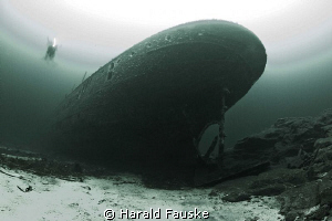 the wreck of SS Borghild , resting on nice sandy bottom on 150 feet. 